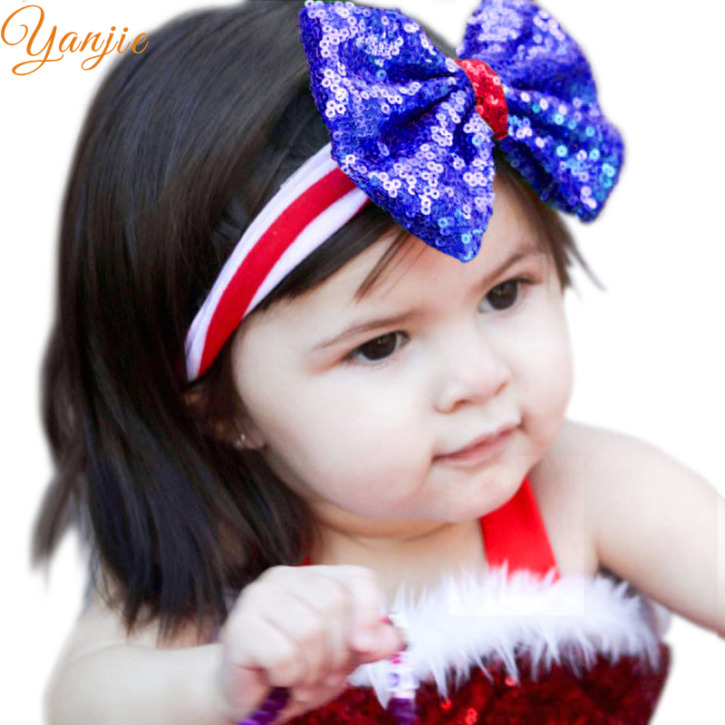 Girls 4th of July Headband For 2019 Independence Day Hair Accessories Kids  Patriotic Big Sequin Hair Bow American Flag Hair Band-in Hair Accessories  from ... 7634870ad2d0
