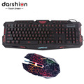 LED Backlit Russian keyboard Gaming +Crack gaming mouse 6 buttons breathing light emitting colorful mouse upgraded version