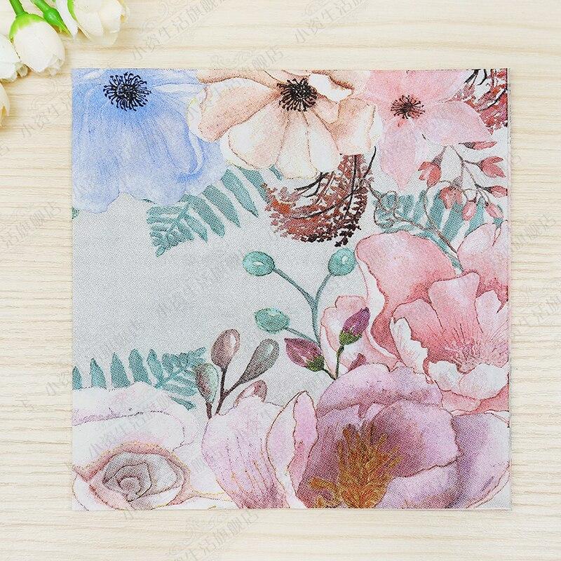 Nueva mesa de calidad Alimentaria papel decoupage servilletas tejidos flor rosa