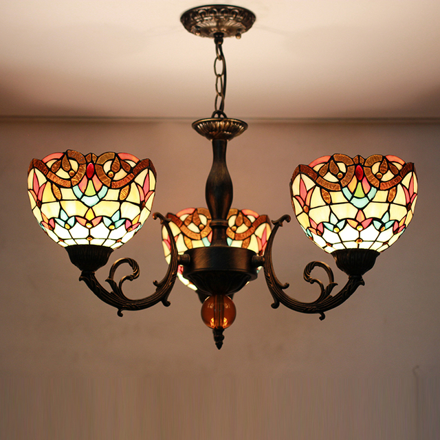 Tiffany Flower Mediterranean Stained Gl Suspended Luminaire E27 Chain Pendant Lights Parlor Dining Room Hanging Lighting