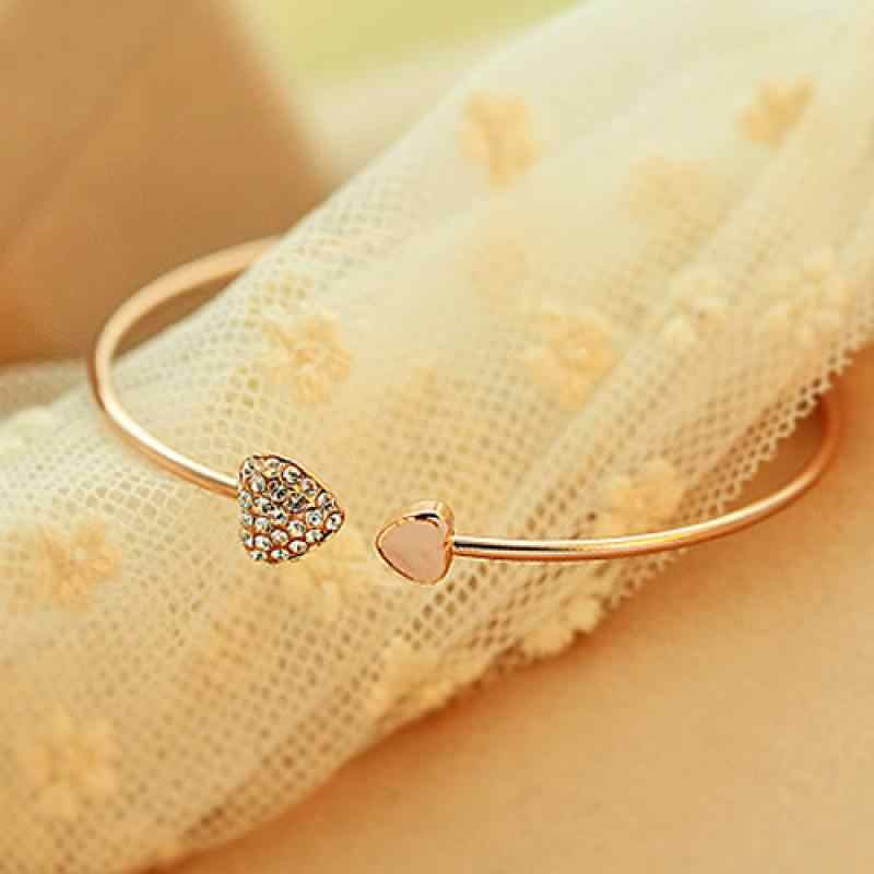 Love Bangle Open Adjustable Gold Color Rhinestone Heart Cuff Bracelet Crystal Cubic Zirconia Charm Women Fashion Jewelry