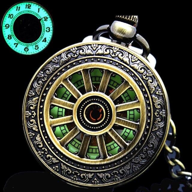 882780ecd94 Novo e Luminoso Mão Enrolamento Mecânico Relógio de Bolso Clássico Pingente  de Bronze Céu Aberto Capa