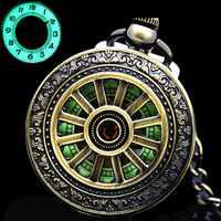 Novo luminoso mão enrolamento mecânico relógio de bolso clássico bronze aberto pingente vintage oco capa analógica para homem presente