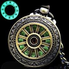 Nowy Luminous ręczne nakręcanie mechaniczny zegarek kieszonkowy klasyczny brąz ażurowy wisiorek Vintage Hollow Cover analogowy na prezent dla mężczyzny