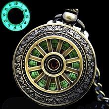 Reloj de bolsillo mecánico para hombre, luminoso, colgante calado de bronce clásico, funda hueca Vintage, analógico, regalo