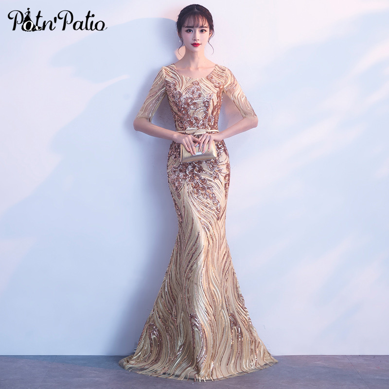Gold Sequined   Evening     Dresses   Long 2018 Elegant O-neck Floor-Length Lace Mermaid   Dresses   With Sleeves For Prom Party