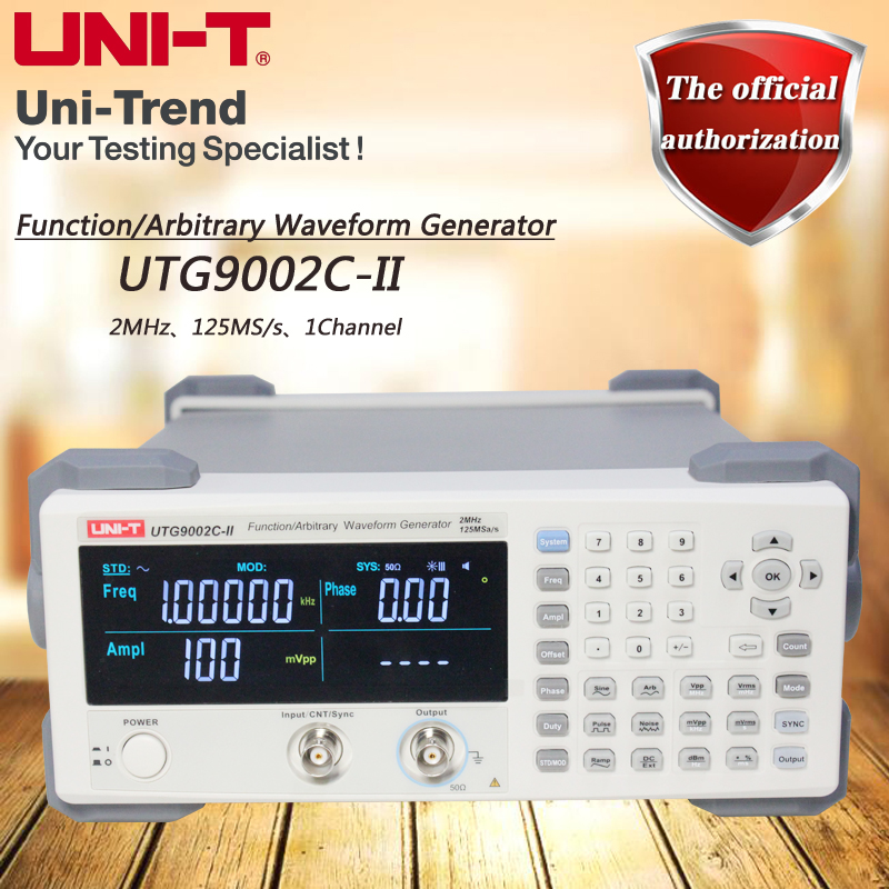 UNI-T UTG9002C-II Function/Arbitrary Waveform Generator; 2MHz Channel bandwidth, 125MS/s Sampling rate, USB communication осциллограф uni t utd2072cex ii