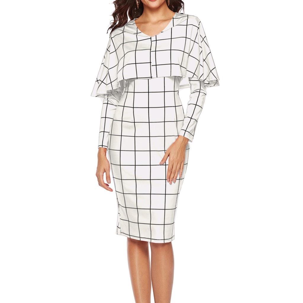 2019 Spring Women Dress Elegant Flounce Flared Ladies Office Dress Classical Plaid Knee Length Party Dress