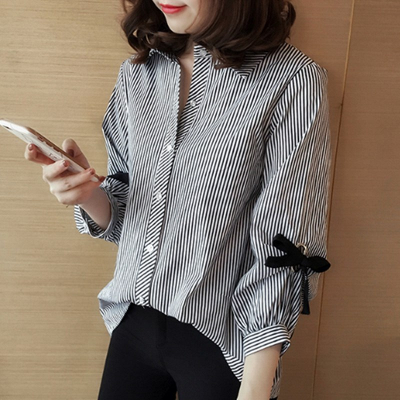 Women Cropped Sleeve Lapel Striped Shirt with Bow Tie for Spring Summer -MX8