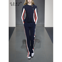 2019 Blends Ruffles Fashion Full Tracksuits Spring New Women's Knit Suit Slim T shirt + High Waist Trousers Leisure Two Tide