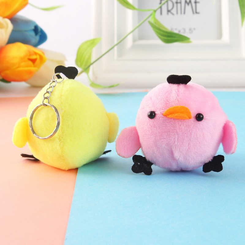 Doldurulmuş oyuncaklar çanta anahtarlık kolye bebek diş kaşıyıcı yatıştırıcı bebek Kawaii Mini karikatür peluş tavuk ponpon yumuşak bebek bebek