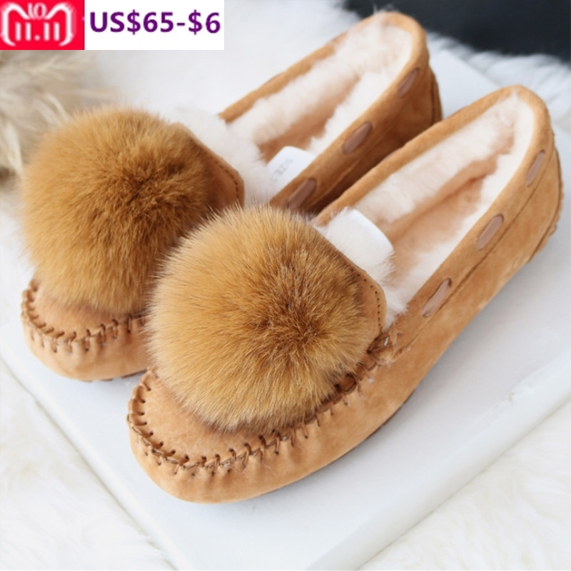 G&Zaco Luxury Spring Winter Sheep Fur Flats Shoes Genuine Leather Cowhide Nubuck Leather Female Flats Shoes Natural Ball Fox Fur spring nubuck genuine sheepskin leather up