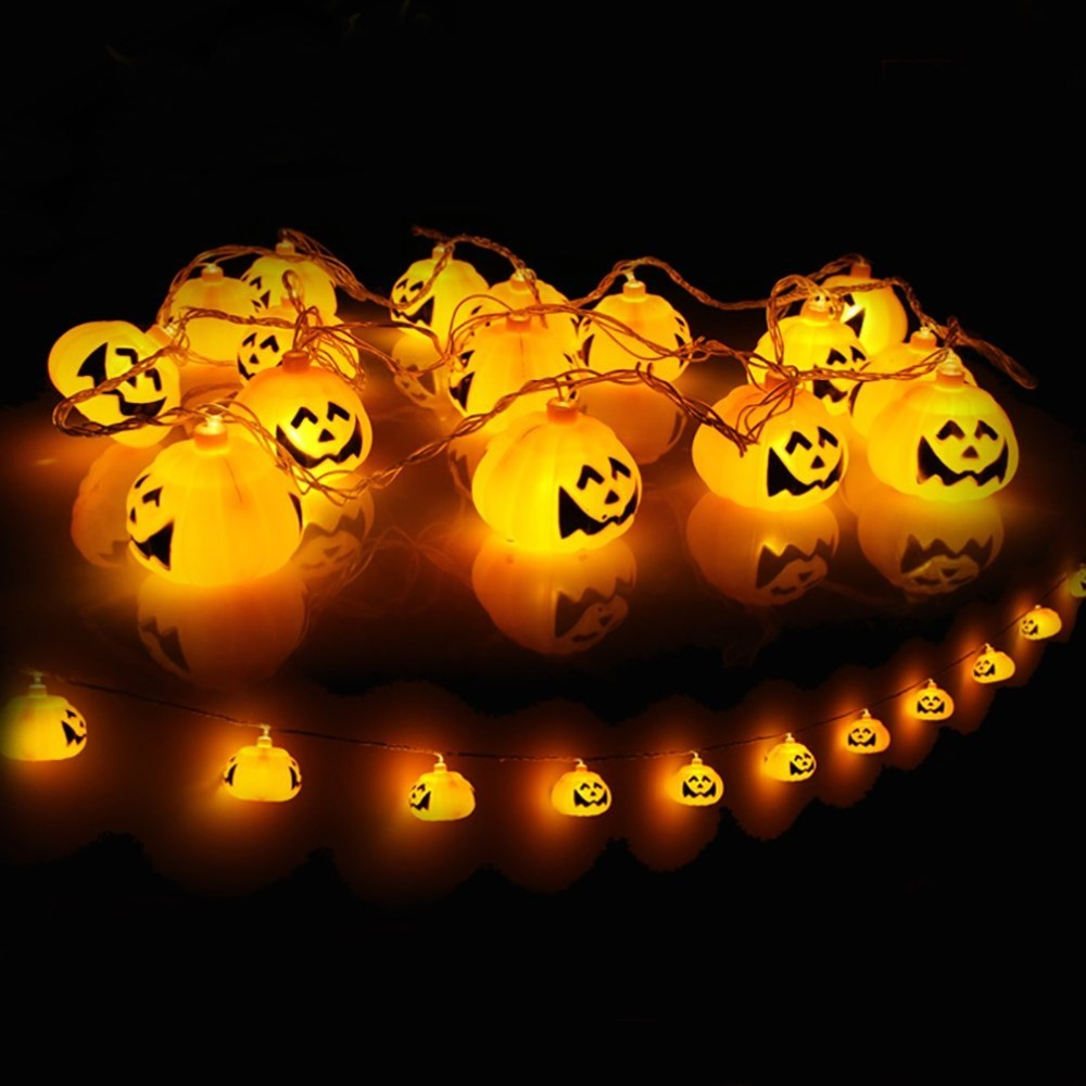 battery powered 3d jack o lantern pumpkin 20 led string lights halloween decoration lights