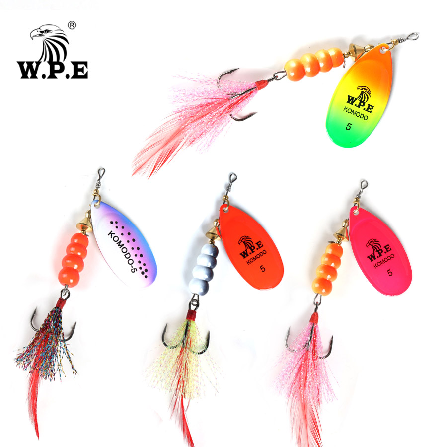 W.P.E NEW Spoon Lure 1pcs 13.5g/22g Spinner Lure Metal Fishing Tackle Hard Lure Wobblers CrankBaits Feather Hooks Carp Fishing