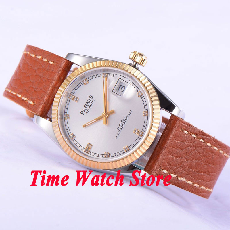 Parnis 36mm White dial date Luminous Gold case sapphire glass 21 jewels MIYOTA Automatic movement Men's watches women 532 36mm parnis dial luminous date window deployment clasp sapphire glass 21 jewels miyota automatic movement women s wristwatch