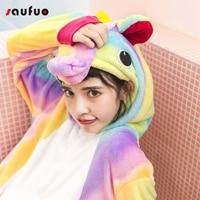 Leuke Rainbow Eenhoorn Pyjama Sets Voor Vrouwen Flanel Unisex Volwassen Dier Cartoon Winter Nachtkleding Herfst Pijama De Unicornio