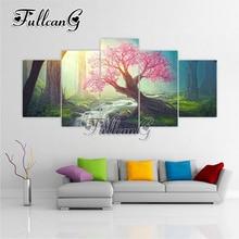 FULLCANG 5pcs diy diamond painting cherry tree & river full drill cross stitch mosaic 3d embroidery multi-picture hobby G1163