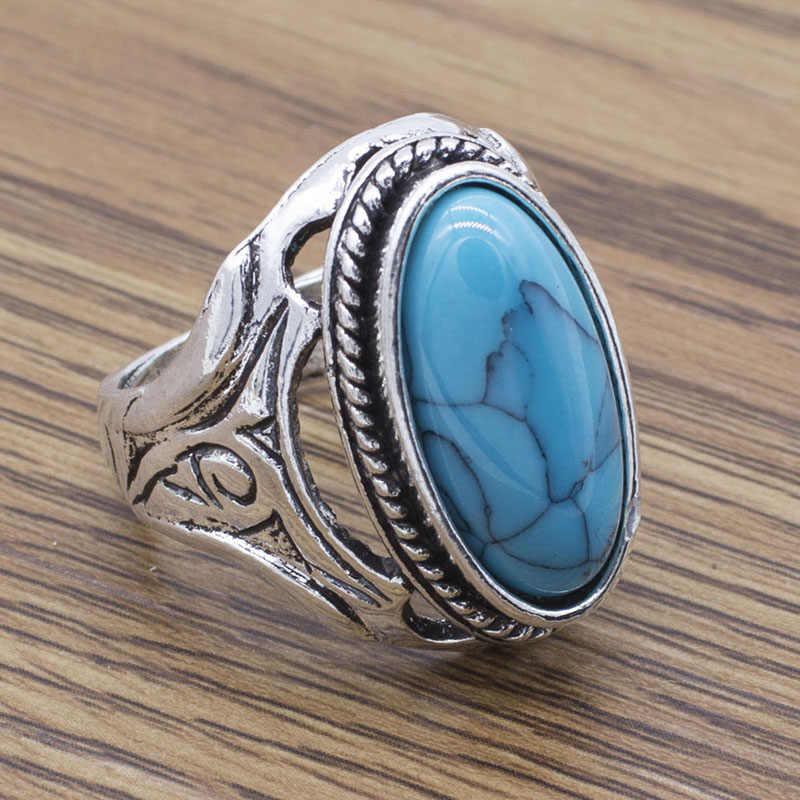 Anéis De Pedra Verde do vintage Da Moda Jóias de Prata Banhado Presente de Aniversário de Casamento Casal Anéis de Dedo para As Mulheres