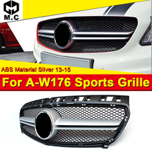 Fits For MercedesMB W176 AEAMG Style grille grill Sport look A-Class A180 A200 A250 A260 Front bumper grille ABS Black 2013-2015 for 02 05 dodge ram black sport billet front hood bumper grill grille frame abs usa domestic free shipping hot selling