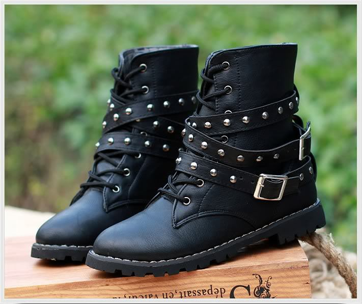 Womens Motorcycle Boots Combat Flat Biker Slip On Buckle