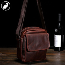 ETONWEAG New 2016 men brands Italian leather crossbody organizer shoulder bags brown zipper casual vintage messenger bags