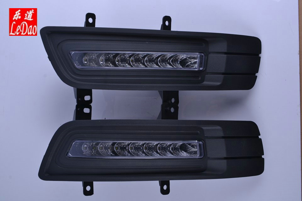 Osmrk led drl daytime running light fog lamp for Geely Emgrand 7 EC718 2010-2014 with fog lamp black cover цена