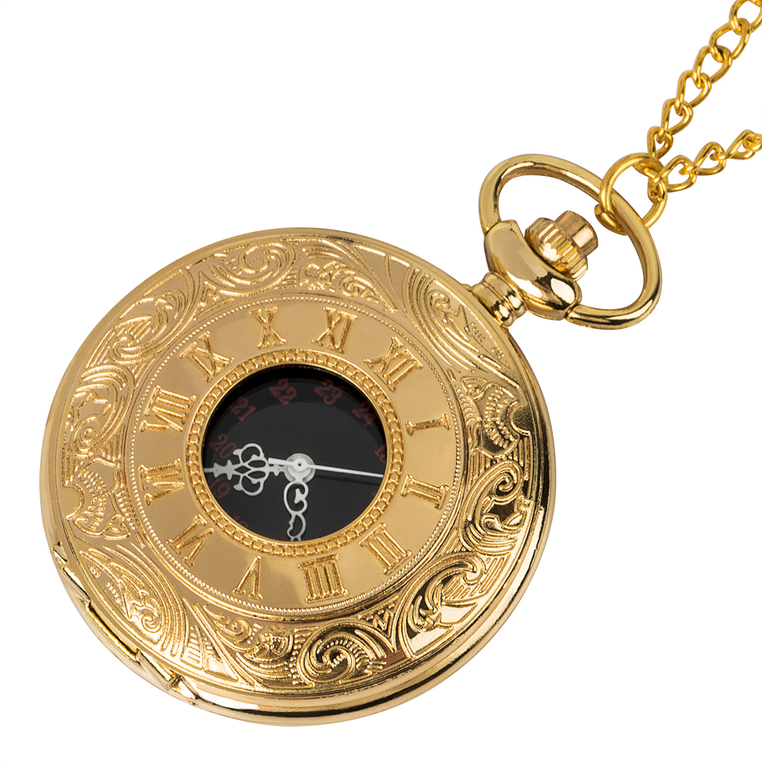 Vintage Golden And Transparent Magnifying Glass Double Open Roman Numerals Steampunk Mechanical Pocket Watches