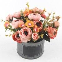 Искусственный цветок розы Горшечное растение мини бонсай набор как настоящие Искусственные Цветочные букеты для свадебного украшения наб