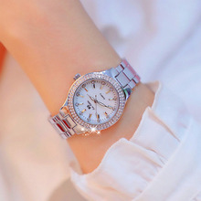 BS 2019 Luxury Brand lady Crystal Watch Women Fashion Quartz Watches Female Stainless Steel Dress Gold Clock Relogio feminino