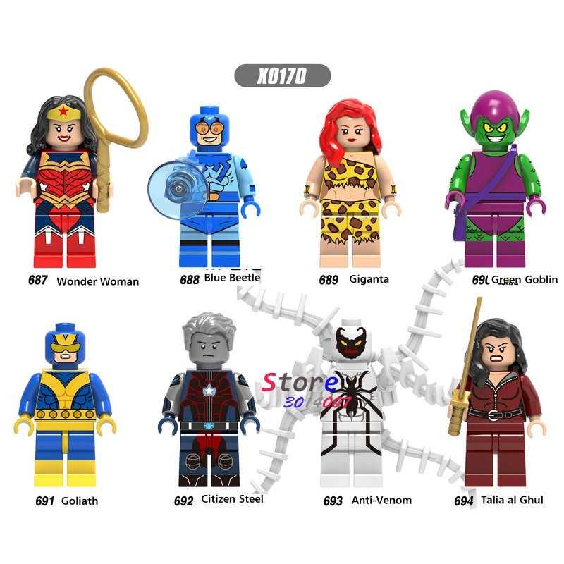 Tek süper kahraman Talia al Ghul vatandaş çelik mavi Beetle Giganta Wonder Woman Venom yapı taşları tuğla oyuncaklar çocuklar için