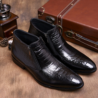2018 Man Crocodile Grain brown tan / black mens ankle boots embossed genuine leather dress boots autumn mens wedding shoes