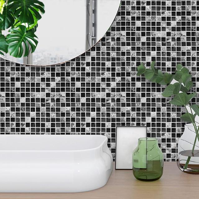 Creative Tiles Self Adhesive Waterproof Marble Mosaic Black Wall Art Enchanting Black Marble Bathroom Creative