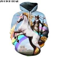 유니콘 고양이 인쇄 후드 남성 여성 3D 스웨터 브랜드 스웨터 캐주얼 운동복 남녀 착실히 보내다 포켓 후드 재킷 2017