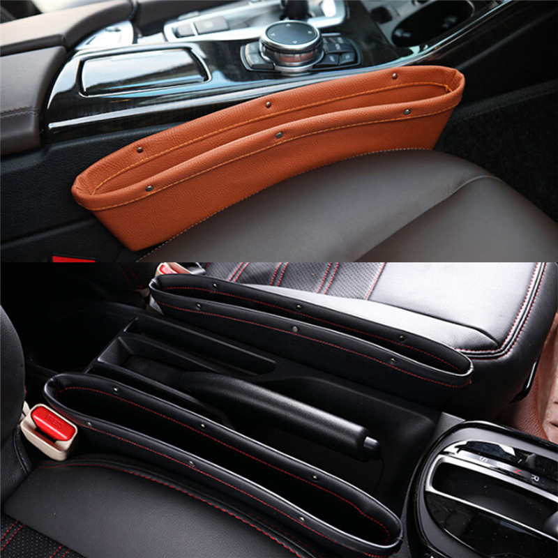 1Pcs Leather Car IPocket Box Caddy Car Seat Gap Slit Pocket Storage Organizer цена