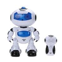 1 Pz Fresco Mini RC Robot Giocattolo Musicale Elettronico Passeggiata Danza Lightenning Robot di Controllo Remoto Testa Può Oscillare Le Braccia Nizza regalo