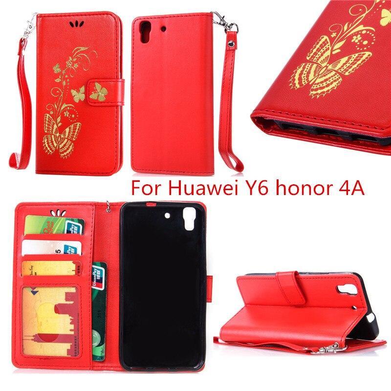 Sello de Oro fundas de mariposa de oro Flip cubierta para Huawei y6 honor  4a caja de cuero de lujo de la PU Marcos cartera caja del teléfono 6cc68c9acba