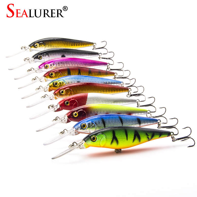 10Pcs/lot Fishing Lure Deep Swim Hard Bait Fish Tackle  11CM 10.5G Artificial Baits Minnow Fishing Wobbler Diving Artificial 1pcs 16 5cm 29g big minnow fishing lures deep sea bass lure artificial wobbler fish swim bait diving 3d eyes