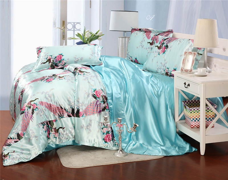 Pale Turquoise Floral and Bird Print Bedding Sets Queen Size 100 ...