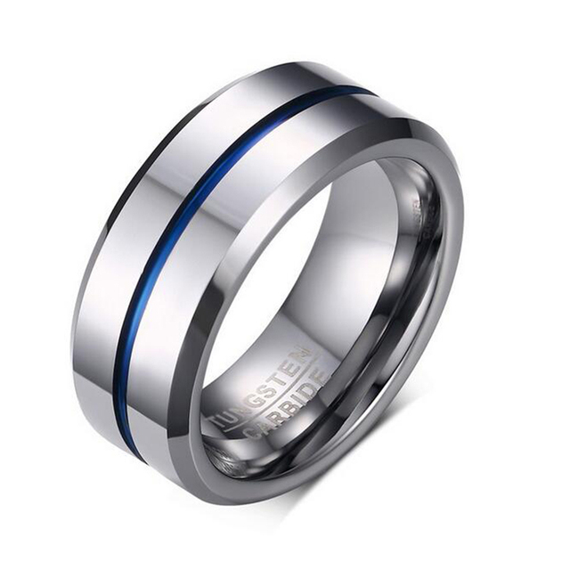 Quality Tungsten Carbide Ring for Men Fashion Navy Blue Ring 8mm