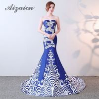 Royal Blue Strapless Sexy Chinese Cheongsam Dress Sleeveless Trailing Qipao Wedding Mermaid Applique Evening Dresses Long