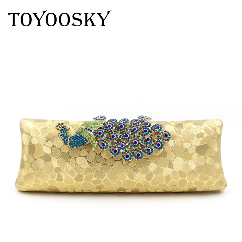 TOYOOSKY Crystal Women Peacock Clutches Handbag Metal Evening Bags Minaudiere Ladies Party Purse Wedding Clutch Bridal Bags