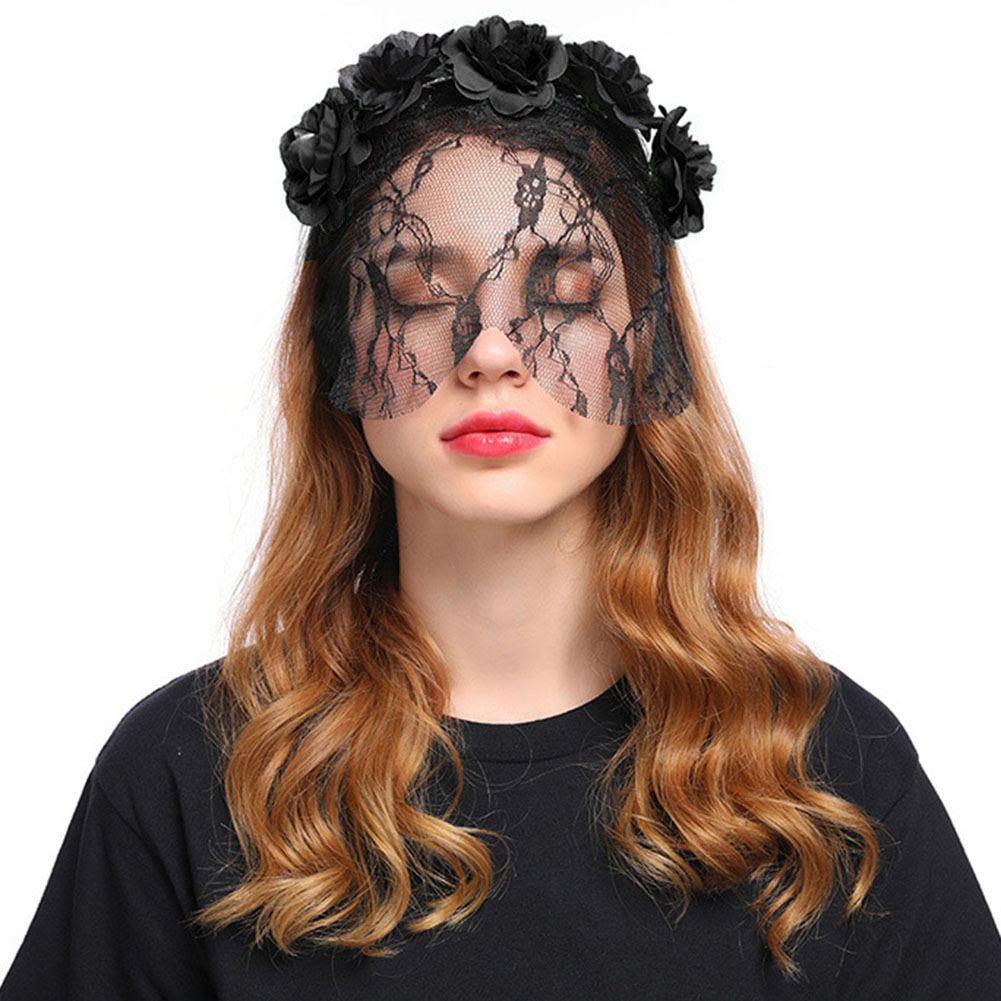 Vampire Bride Cosplay Rose Flower Lace Veil Halloween Headband Party Christmas Festival Hair Accessory Female Costumes Props 7