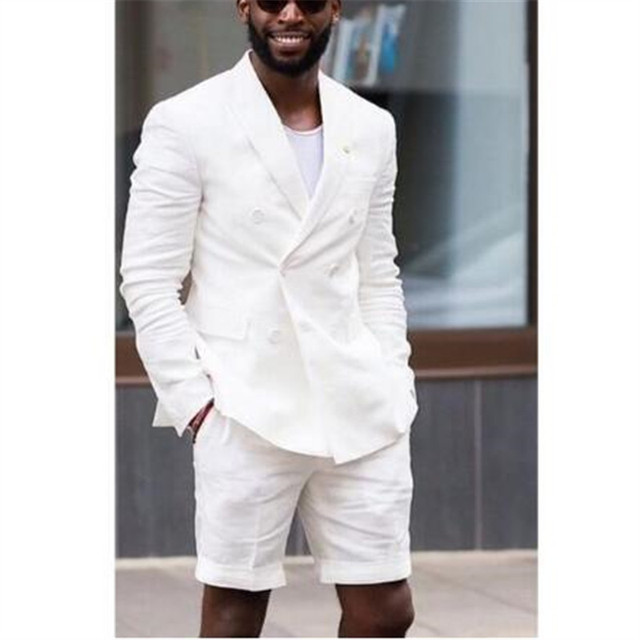 White Double Breasted Summer Wedding Suit With Short Pant Terno