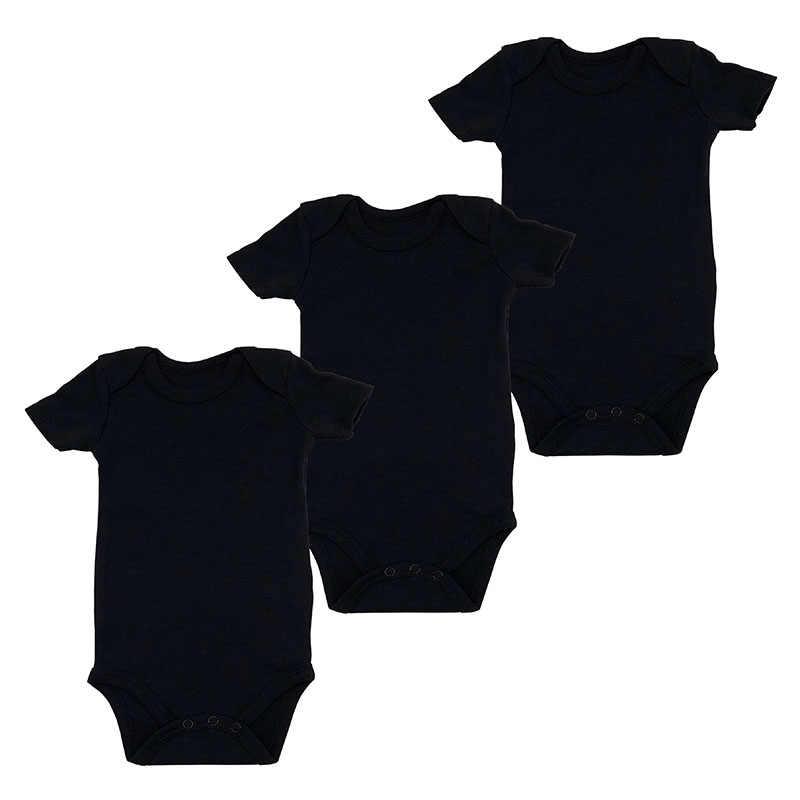 3 шт./партия, летний Черный боди для новорожденных, одежда для маленьких мальчиков и девочек хлопковый белый комбинезон с короткими рукавами и круглым вырезом для детей от 3 до 24 месяцев