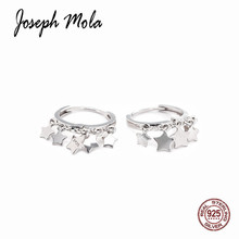 Joseph Mola 925 Sterling Silver Trendy Star Pendant Punk Hoop Earrings for Women Girls Party Fashion Jewelry Ear Decor
