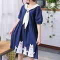 Summer Japan Mori girls dress cat sailor collar bow tie navy style blue cats embroidery sweet  women casual short-sleeve dresses