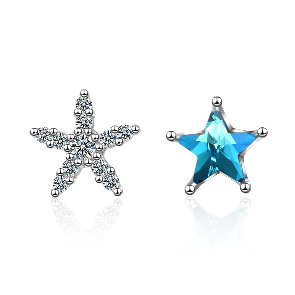 100 925 sterling silver fashion shiny crystal star female gift ladies stud earrings jewelry Anti allergy girls birthday cheap in Stud Earrings from Jewelry Accessories