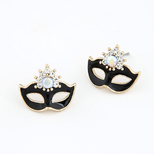 brincos pequenos pendientes mujer Mask Earrings,crystal enamel black and white Earrings For Women bijuterias no atacado