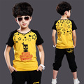 Baby Clothing Set Boys 8 Years Kids Short Sleeve Korean Fashion T Shirt + Black Pants Clothes With Stars Children Summer Suit