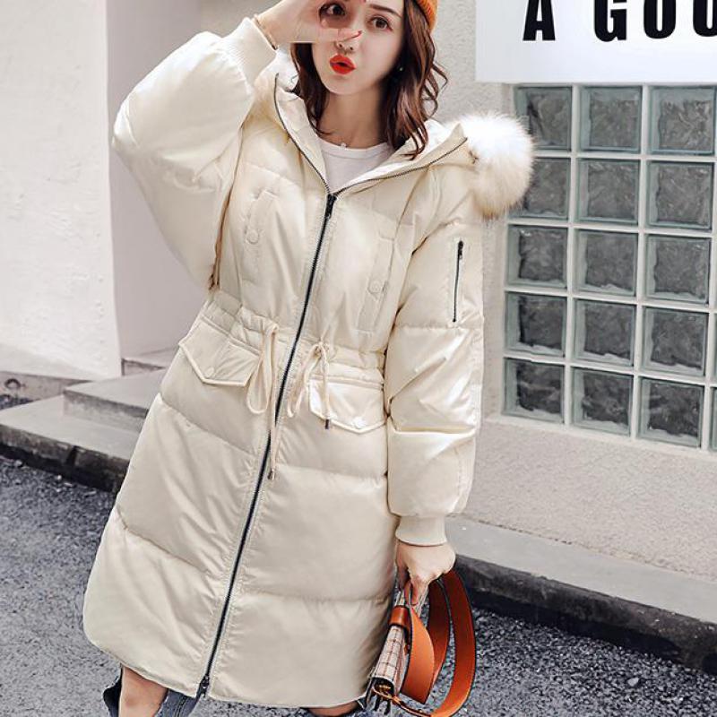 Femme Épais 2018 Longue Était Fourrure D'hiver Section Nouvelle Laveur Taille La Manteau Mince Grande Veste Collier Vers Coréenne Raton Version Le De Bas Zr6ZxH